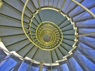 stairwell spiral - looking over centripetal banisters