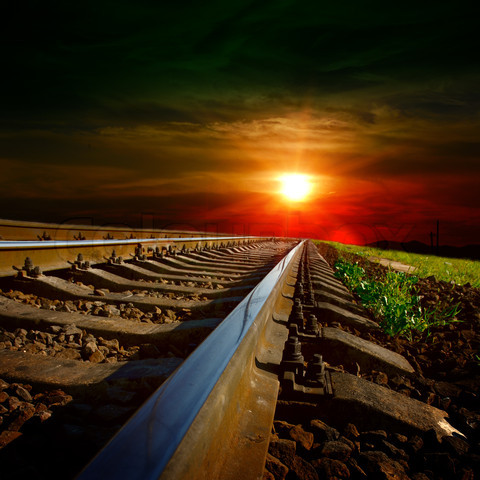railways at the sunset